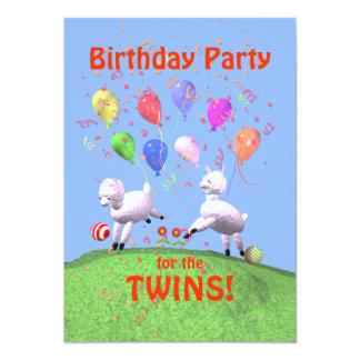 Festa de aniversário dos cordeiros para gêmeos convite 12.7 x 17.78cm