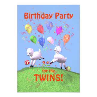 Festa de aniversário dos cordeiros para gêmeos convite
