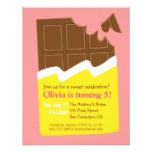 Festa de aniversário dos doces do bar de chocolate convite personalizados