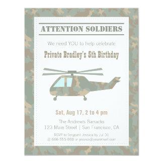 Festa de aniversário dos meninos do exército do convite 10.79 x 13.97cm