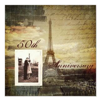 festa de aniversário elegante de Paris 50th do Convite Quadrado 13.35 X 13.35cm