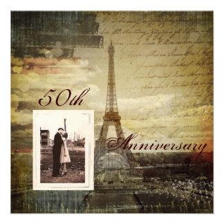 festa de aniversário elegante de Paris 50th do vin Convites Personalizado