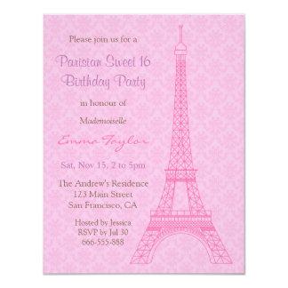 Festa de aniversário elegante de Paris da torre Convite 10.79 X 13.97cm
