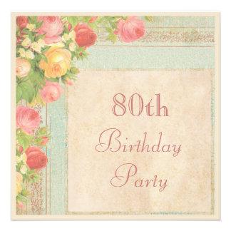 Festa de aniversário elegante do 80 dos rosas do v convites personalizados
