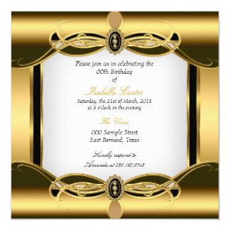 Festa de aniversário elegante do branco do preto convite quadrado 13.35 x 13.35cm