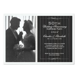 Festa de aniversário elegante do casamento da foto convite 12.7 x 17.78cm