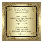 Festa de aniversário elegante do casamento do ouro convite