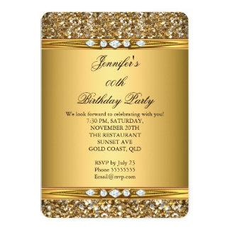 Festa de aniversário elegante do diamante do olhar convite 12.7 x 17.78cm