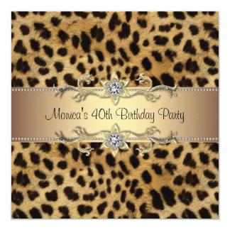 Festa de aniversário elegante do leopardo convite quadrado 13.35 x 13.35cm