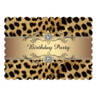 Festa de aniversário elegante do leopardo do ouro convite personalizados