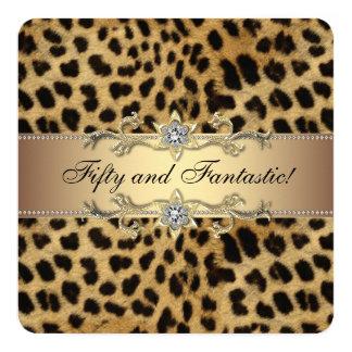 Festa de aniversário elegante do leopardo do ouro convite quadrado 13.35 x 13.35cm