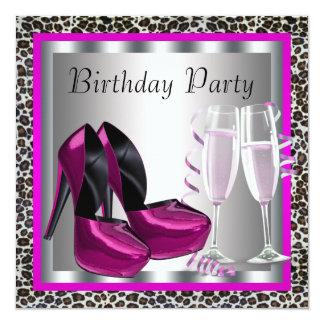 Festa de aniversário elegante do leopardo do rosa convite quadrado 13.35 x 13.35cm