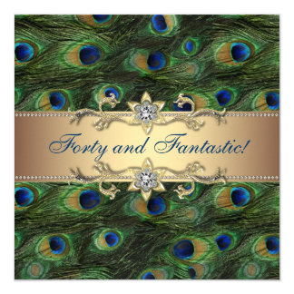 Festa de aniversário elegante do pavão convite quadrado 13.35 x 13.35cm