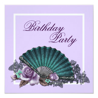 Festa de aniversário elegante do rosa do roxo da convite quadrado 13.35 x 13.35cm