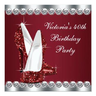 Festa de aniversário elegante do vermelho do rubi convite quadrado 13.35 x 13.35cm