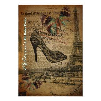 festa de aniversário elegante do vintage de Paris  Convites Personalizados