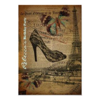 festa de aniversário elegante do vintage de Paris Convite 8.89 X 12.7cm