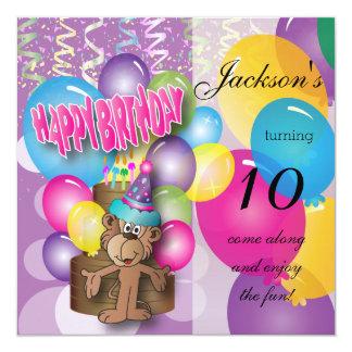 Festa de aniversário engraçada do roxo do macaco convite quadrado 13.35 x 13.35cm