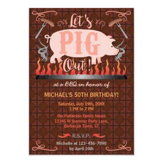 Festa de aniversário engraçada do verão do porco convite 12.7 x 17.78cm