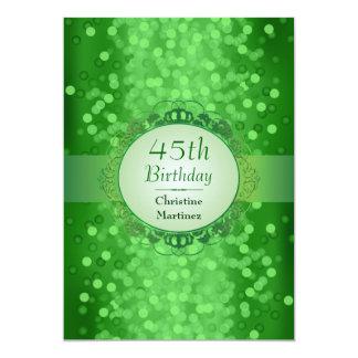 Festa de aniversário esmeralda da foto de Bokeh Convite Personalizado