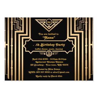 Festa de aniversário, estilo de Gatsby, art deco, Convite 12.7 X 17.78cm