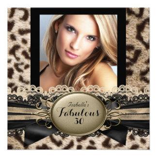 Festa de aniversário fabulosa 3 do leopardo de convites personalizados