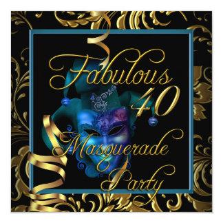 Festa de aniversário fabulosa do azul do ouro 40 convite quadrado 13.35 x 13.35cm