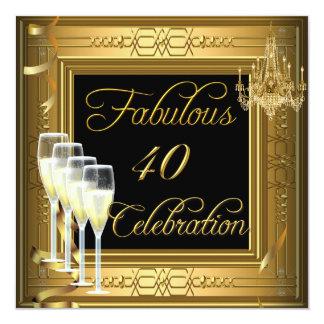 Festa de aniversário fabulosa do preto do ouro de convite quadrado 13.35 x 13.35cm