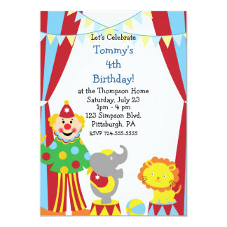 Festa de aniversário feita sob encomenda do circo convite 12.7 x 17.78cm