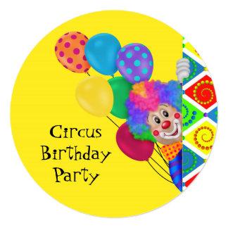 Festa de aniversário feliz do circo do palhaço convite quadrado 13.35 x 13.35cm