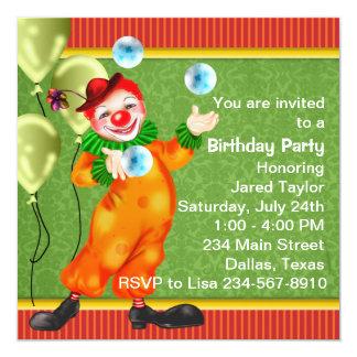 Festa de aniversário feliz do palhaço de circo convite quadrado 13.35 x 13.35cm