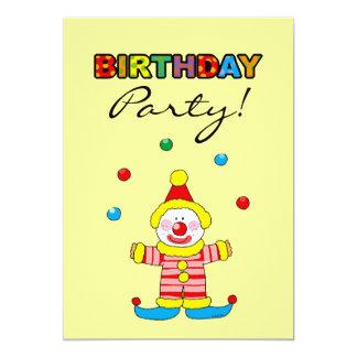 Festa de aniversário feliz (palhaço do partido) convite 12.7 x 17.78cm