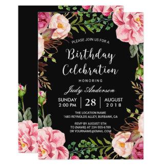 Festa de aniversário feminino da grinalda floral convite 12.7 x 17.78cm