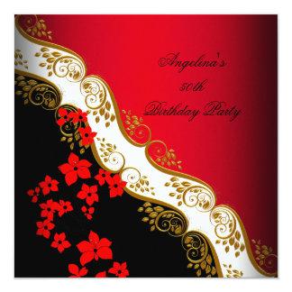 Festa de aniversário floral branca preta asiática convite quadrado 13.35 x 13.35cm