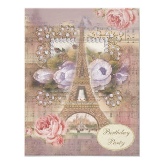 Festa de aniversário floral da torre Eiffel do Convite 10.79 X 13.97cm