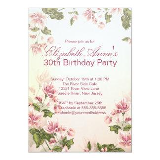 Festa de aniversário floral das flores cor-de-rosa convite 12.7 x 17.78cm