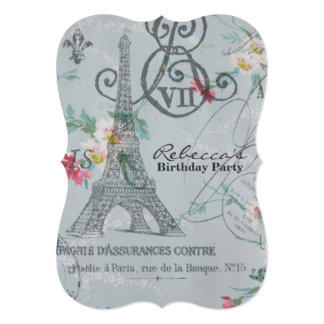 festa de aniversário floral do vintage da torre convites personalizados