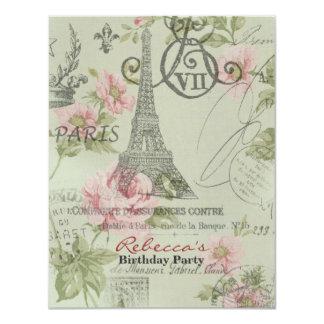 festa de aniversário floral do vintage da torre convite 10.79 x 13.97cm