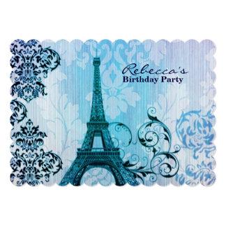 festa de aniversário floral do vintage da torre convite personalizados