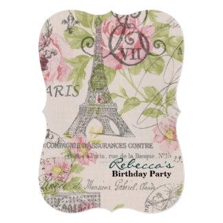 festa de aniversário floral do vintage da torre convite 12.7 x 17.78cm