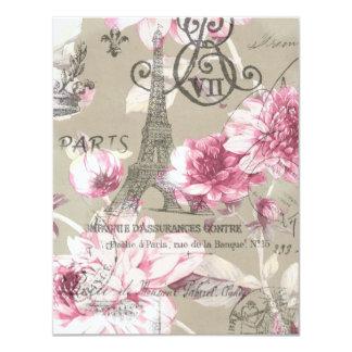 festa de aniversário floral do vintage da torre convite personalizado