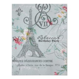 festa de aniversário floral do vintage da torre convites