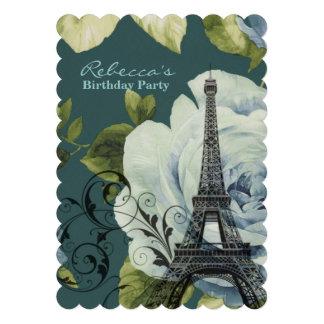 festa de aniversário floral do vintage da torre Ei Convites Personalizado