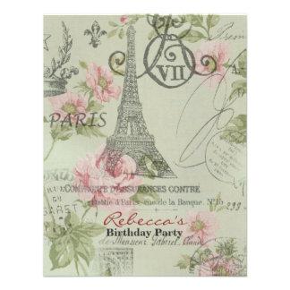 festa de aniversário floral do vintage da torre Ei Convites