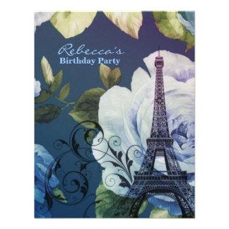festa de aniversário floral do vintage da torre Ei Convite