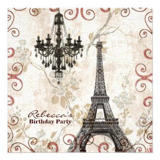 festa de aniversário floral do vintage da torre Ei Convite Personalizados