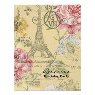 festa de aniversário floral do vintage da torre Ei Convite Personalizado