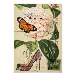 festa de aniversário floral do vintage do estilete convite 8.89 x 12.7cm