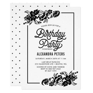 Festa de aniversário floral moderna preta & branca convite 12.7 x 17.78cm