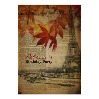 festa de aniversário francesa do vintage de Paris  Convites